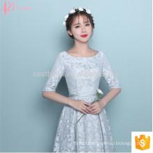 Manga curta chá de comprimento Alibaba Suzhou fábrica vestido de dama de honra formal
