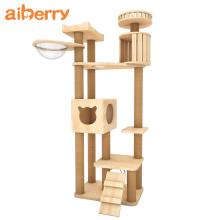Custom Luxury Stylish Wooden Cat Tree House