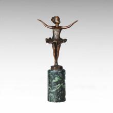 Kinderfigur Statue Kleine Ballett Mädchen Bronze Skulptur TPE-702
