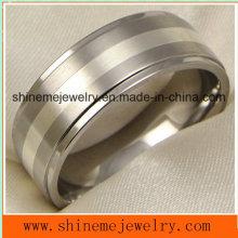 Shineme Schmucksache-Art- und Weiseschmucksache-Silber-Einlegearbeit-Finger-Titanring