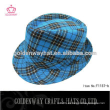 Custom Blue checked fedora hat para la venta