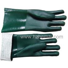 Gants de sécurité pour les mains chimiques en PVC entièrement trempés
