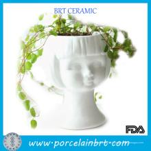 Planteurs de tête en céramique blanche Girl Beauty