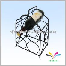 Heißer Verkauf dekorativer starker Metallschwarz-Fußbodenstand 5 Flaschenweinzahnstange