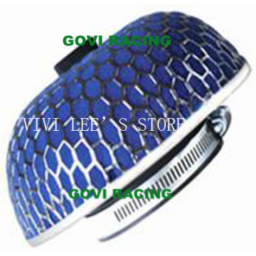 Sponge Car Air Filter with 76mm Iron Mesh Blue Universal for Car Air Intake Pipe