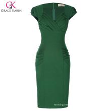 Grace Karin Retro Vintage Cap Sleeve V-Neck Hips-Wrapped Green Bodycon Pencil Dress CL010449-1