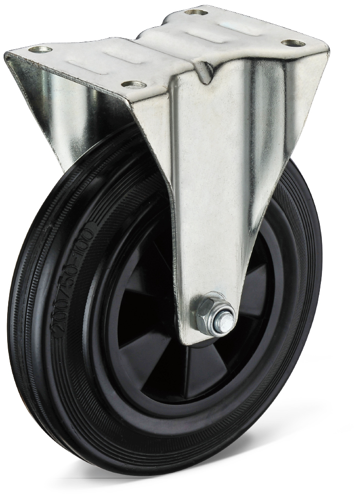 Black Rubber Flat Bottom Fixed Casters