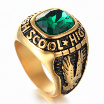 Fashion two eagle green Diamond Ring