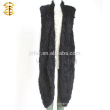 Осенний и зимний черный ручная вязание крючком кролика меховой жилет вязаный длинный стиль кролика меховой жилет для Wemon