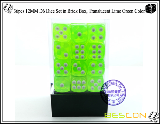 36pcs 12MM D6 Dice Set in Brick Box, Translucent Lime Green Color-2
