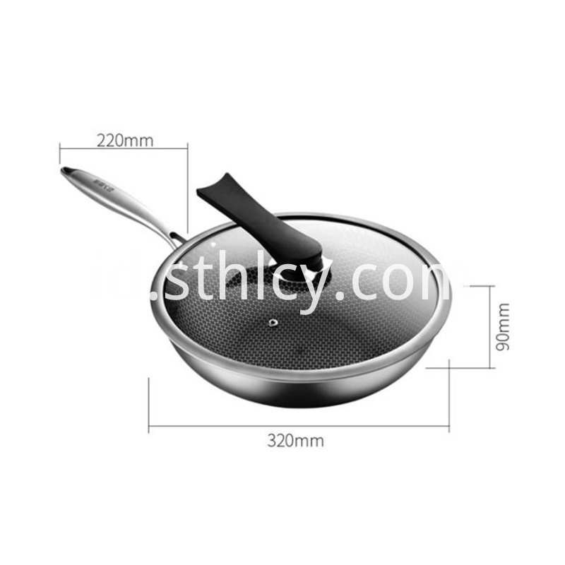 304 Stainless Steel Non Stick Wok Pan