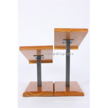 Custom Metal Rod Wooden Holder Countertop Shoes Retail Shop Commercial Stand Wear Display Unit