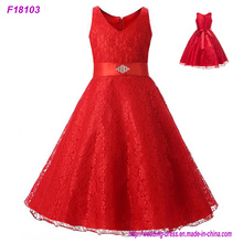 2017 Vintage Flower Girl Dresses for Weddings Red Custom Made Princess Sequined Appliqued Lace Bow Kids First Communion Gowns