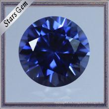 Clásico, redondo, brillante, corte, laboratorio, corindón, zafiro, piedra preciosa