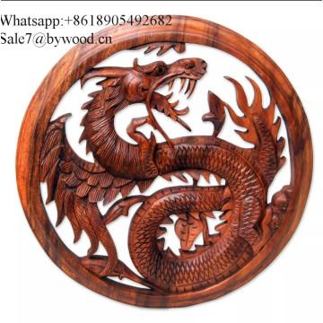 Панно на стену из резного дерева ручной работы панно из массива дерева изображение дракона резное поделки