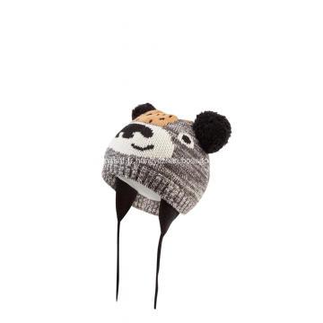 Bonnet tricoté à pompons en jacquard ours fille garçon
