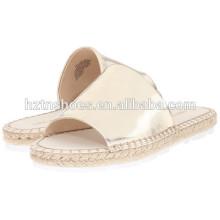 Senhoras verão sandálias foto 2016 Últimas mulheres espadrilha plana sandálias casuais