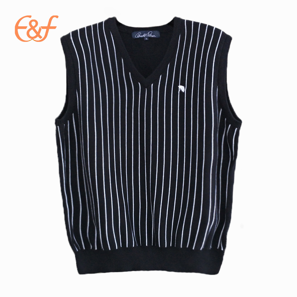 V-Neck Black And White Vertical Stripe Pattern Vest Sweater