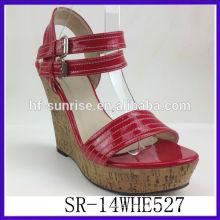 SR-14WHE527 2014 PU womens platform wedges sandals new model summer roman sandals mature sexy women wedges sandals