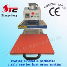 Dessin Machine de transfert de chaleur de T-shirt automatique 50 * 60cm Dessin Machine de presse de chaleur automatique Machine de tirage de vêtements Station simple automatique Stc-Qd08