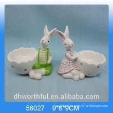 Вырезать форму кролика керамической яйцо Кубок на день Пасхи