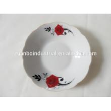 Placa profunda de porcelana com borda de corte, placas de cerâmica branca a granel