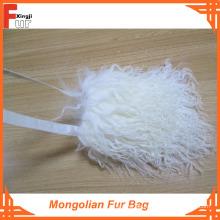 Bolsa blanqueada de piel de mongol blanca