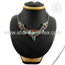 Espléndido collar de plata de piedras preciosas multi 925 joyas de plata esterlina joyas indias