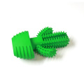 Non toxic natural rubber green cactus shape dog squeaky chew toy teeth cleaning