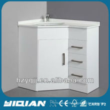 Floor Standing High Gloss White Color Finish Artificial Marble Basin with All Edges Polished MDF Corner Bathroom Vanity