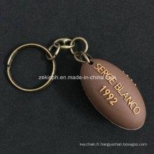 Porte-clés en caoutchouc 3D de forme de boule de rugby de PVC fait sur commande pour le cadeau de Souvernir