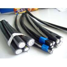 Cable ABC Cable de aluminio revestido de pvc / pe / xlpe estándar ASTM 2 núcleos 3 núcleos Cable abc de 4 núcleos con conductor AAC AAAC ACSR desnudo