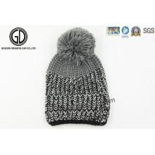 Custom OEM Pompom 100% Beanie en tricot acrylique, chapeau tricoté