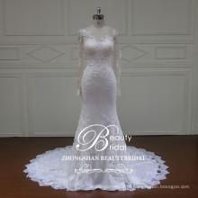 Comprimento do chão nova moda ilusão vestido de casamento sereia com champanhe manga longa de renda