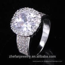 atacado bijuterias grande branco e redondo zircão cúbico anel de natal