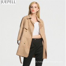 Autumn Outdoor New Korean Women Long Coat Double Breaste Suede Trench Coat Sleeve Women Leather Jacket Coat