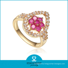 Micro Paved Red Crystal Finger Ring (J-0051R)