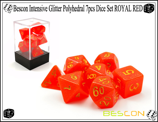 Bescon Intensive Glitter Polyhedral 7pcs Dice Set ROYAL RED-5