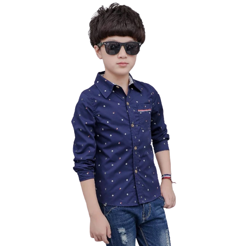 Autumn Stylish Pattern Cotton Long-sleeved Shirt