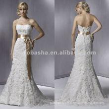 Dentelle douce et sans bretelles avec robe de mariage en écharpe de mariage / robe de mariée