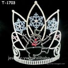 Atacado coroas de desfile de Natal de cristal com boneco de neve e floco de neve