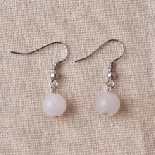 Silver Rose Quartz Gemstone Earrings Wedding Jewellery