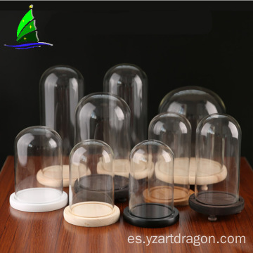 Yangzhou glass craft display glass cloche dome house with base