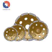 """4"""" Concrete Turbo Diamond Grinding Cup Wheel Three Row Turbo Cup Disc Grinder for Angle Grinder 12 Segs Heavy Duty"""
