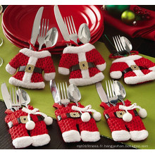 Fancy Santa Christmas Decorations Silverware Holders Pockets Dinner Table Decor