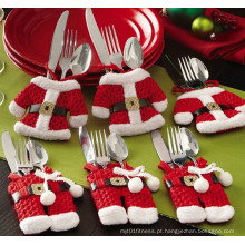 Fancy Santa Decorações de Natal Silverware titulares bolsos Dinner Table Decor