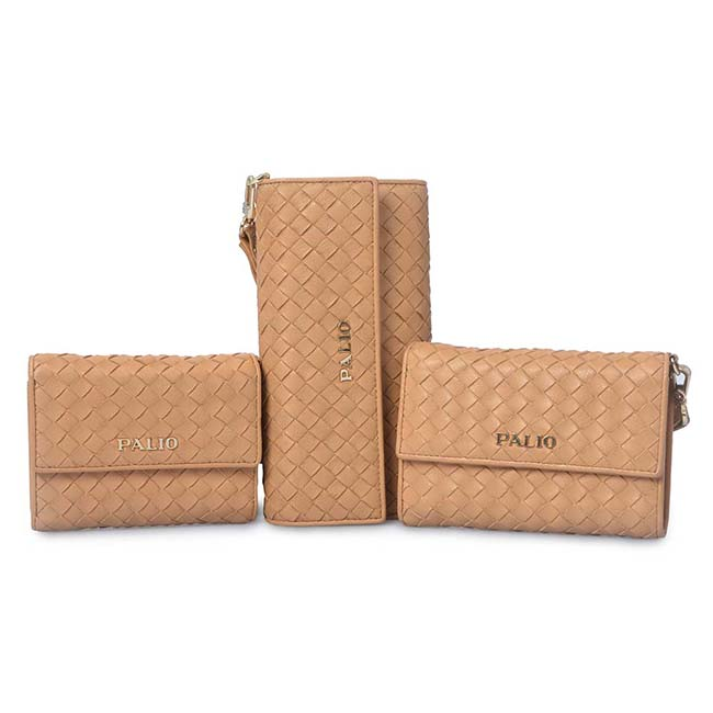 Luxury Genuine Leather Weave Women Wallet Gold Sheepskin