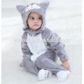 Suave bebé franela mameluco gato Onesie traje de trajes de pijamas, ropa de dormir, bebé con capucha toalla
