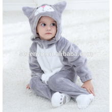 Soft baby Flannel Romper Cat Onesie Pajamas Outfits Suit,sleeping wear, baby hooded towel