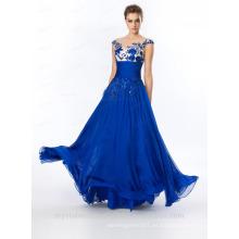 Alibaba Elegante largo nuevo diseñador de la manga del casquillo de color azul real Tulle playa vestidos de noche o vestido de dama de honor LE31